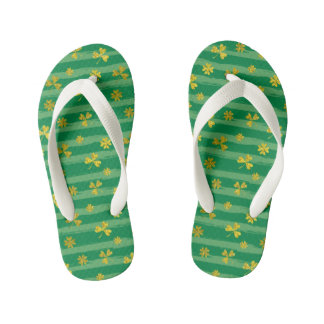 St Patrick Golden shamrock green stripes pattern Kid's Flip Flops