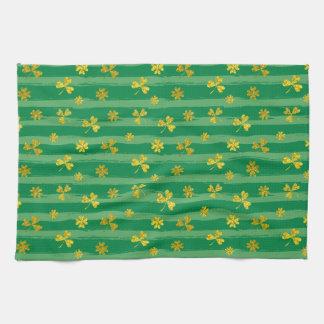 St Patrick Golden shamrock green stripes pattern Kitchen Towel