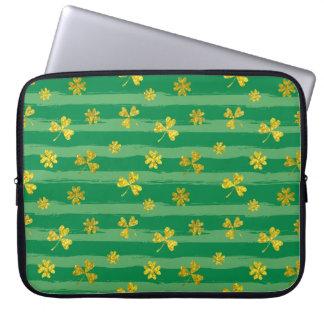 St Patrick Golden shamrock green stripes pattern Laptop Sleeve