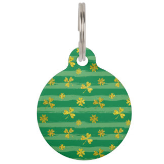 St Patrick Golden shamrock green stripes pattern Pet ID Tag