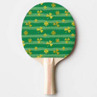 St Patrick Golden shamrock green stripes pattern Ping Pong Paddle