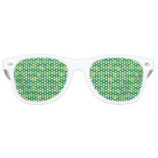 St Patrick Golden shamrock green stripes pattern Retro Sunglasses