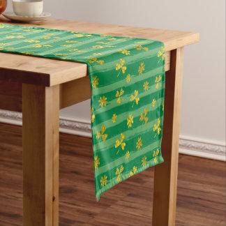 St Patrick Golden shamrock green stripes pattern Short Table Runner