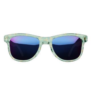 St Patrick Golden shamrock green stripes pattern Sunglasses