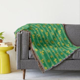 St Patrick Golden shamrock green stripes pattern Throw Blanket