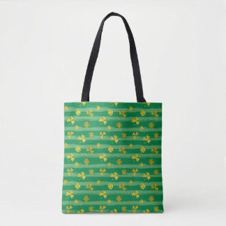 St Patrick Golden shamrock green stripes pattern Tote Bag