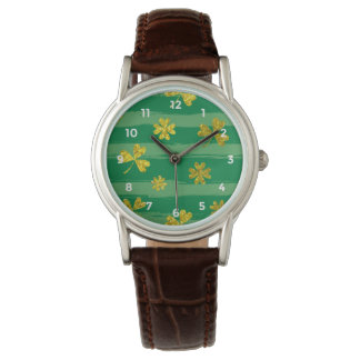 St Patrick Golden shamrock green stripes pattern Watch
