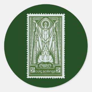 St. Patrick Irish Postage Stamp Round Sticker