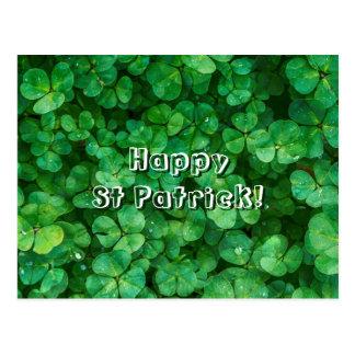 St Patrick lucky clovers Postcard