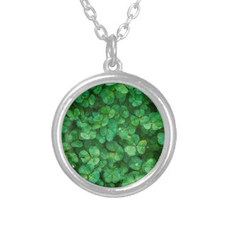St Patrick lucky clovers Silver Plated Necklace