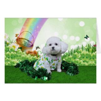St Patrick s Day - Bichon Frise - Mia Greeting Card