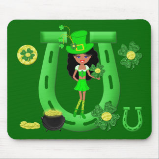 St Patrick's Day Brunette Girl Leprechaun Mousepad