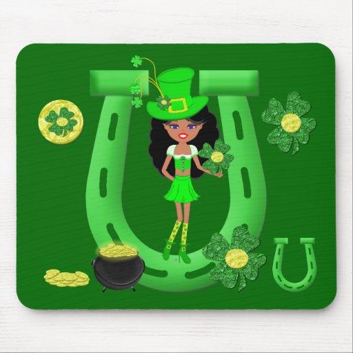 St Patrick's Day Brunette Girl Leprechaun Mousepad