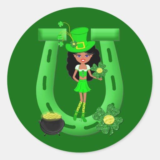 St Patrick's Day Brunette Girl Leprechaun Round Sticker