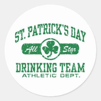 St Patrick s Day Drinking Team Round Sticker