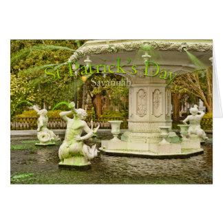 St Patrick s Day - Forsyth Fountain Savannah GA Greeting Card