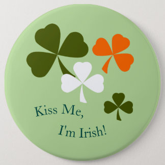 St. Patrick's Day Green Orange Shamrocks Button