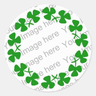 St. Patrick's Day Leprechaun Shamrock Ring  Sticke Round Sticker