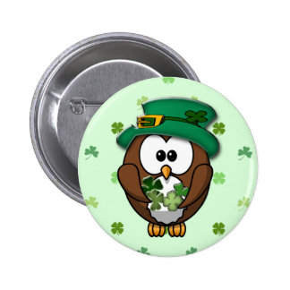 St Patrick s Day owl Pinback Buttons