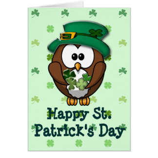 St Patrick s Day owl Greeting Card