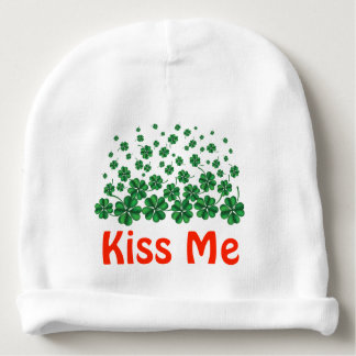 St. Patrick's Day Personalized Kiss Me shamrocks Baby Beanie