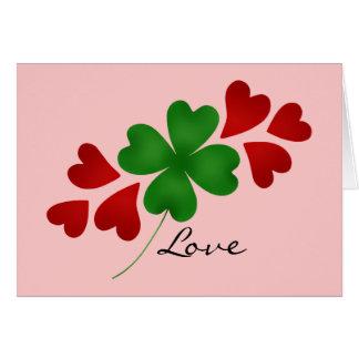 St Patrick s day romance shamrock and hearts Card