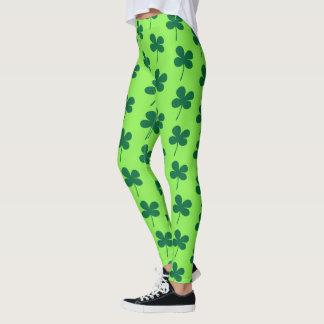 St Patrick`s Day Shamrock Green Pattern Leggings