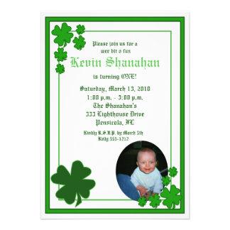 St Patrick s Day Shamrock PHOTO Birthday 5x7 Personalized Invitations