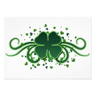 St Patrick's Day Shamrock Swirls Invitation