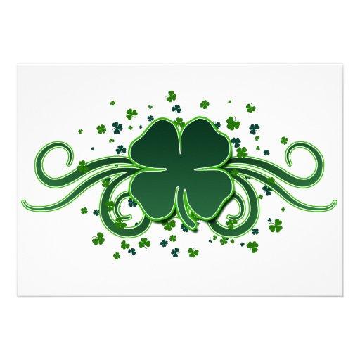 St. Patrick's Day Shamrock Swirls Invitation