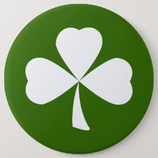 St. Patrick's Day White Clover Shamrock Button