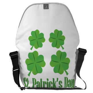 St. Patrick's Day with clover Messenger Bags