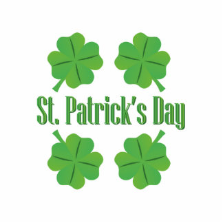 St. Patrick's Day with clover Photo Sculpture Button