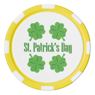 St. Patrick's Day with clover Poker Chips