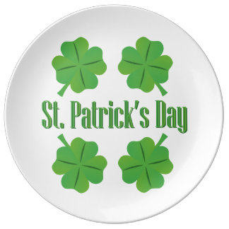 St. Patrick's Day with clover Porcelain Plates
