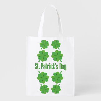 St. Patrick's Day with clover Reusable Grocery Bag