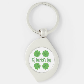 St. Patrick's Day with clover Silver-Colored Swirl Keychain