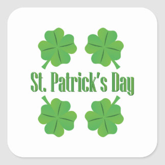 St. Patrick's Day with clover Square Sticker