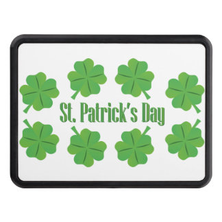 St. Patrick's Day with clover Trailer Hitch Cover