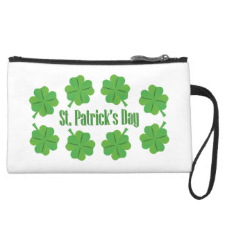 St. Patrick's Day with clover Wristlet Purse