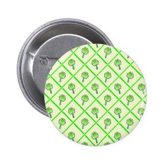 St Patrick s wallpaper with shamrocks and squares Pinback Button