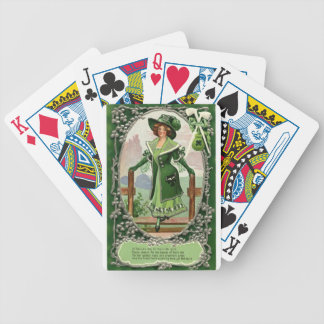 St Patrick Stylish Vintage maid in dress and hat Bicycle Playing Cards