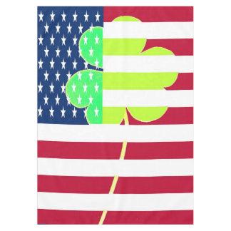 St. Patrick USA Ireland Shamrock American Flag Tablecloth