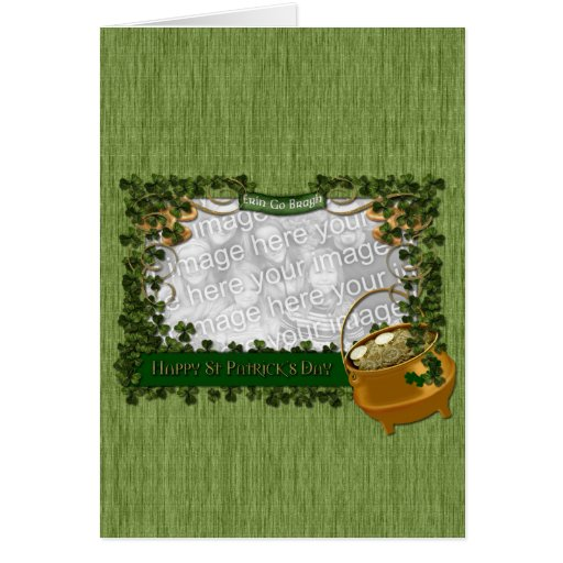 St Patricks - ADD YOUR PHOTO - Shamrock Frame Greeting Card