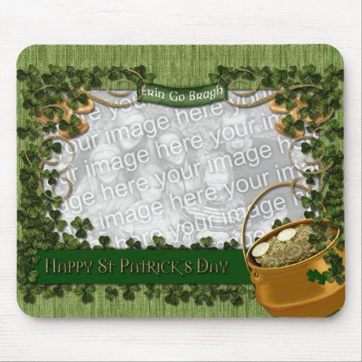 St Patricks - ADD YOUR PHOTO - Shamrock Frame Mousepads