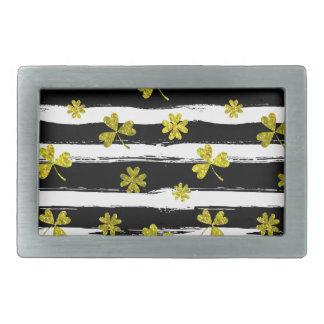 st patricks black white clover belt buckles