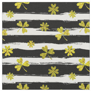 st patricks black white clover fabric