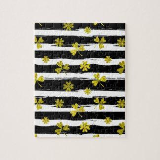 st patricks black white clover jigsaw puzzle