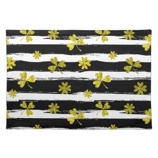 st patricks black white clover placemat