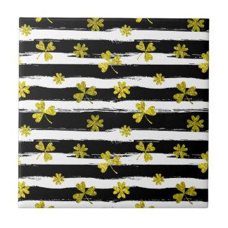st patricks black white clover tile